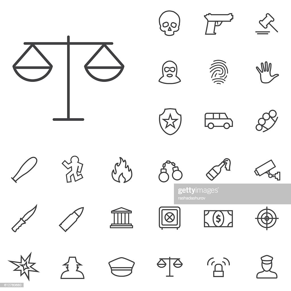 crime, justice outline, thin, flat, digital icon set