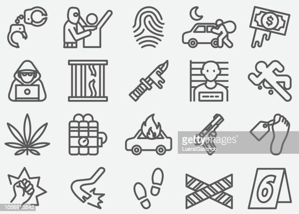 crime line icons - threats stock illustrations