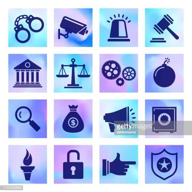 crime prevention & justice system holographic style vector icon set - criação digital stock illustrations