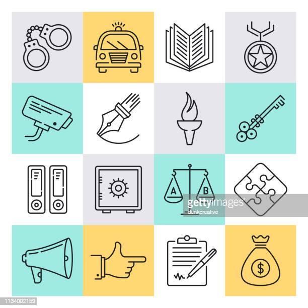 crime, punishment & classification outline style vector icon set - criação digital stock illustrations