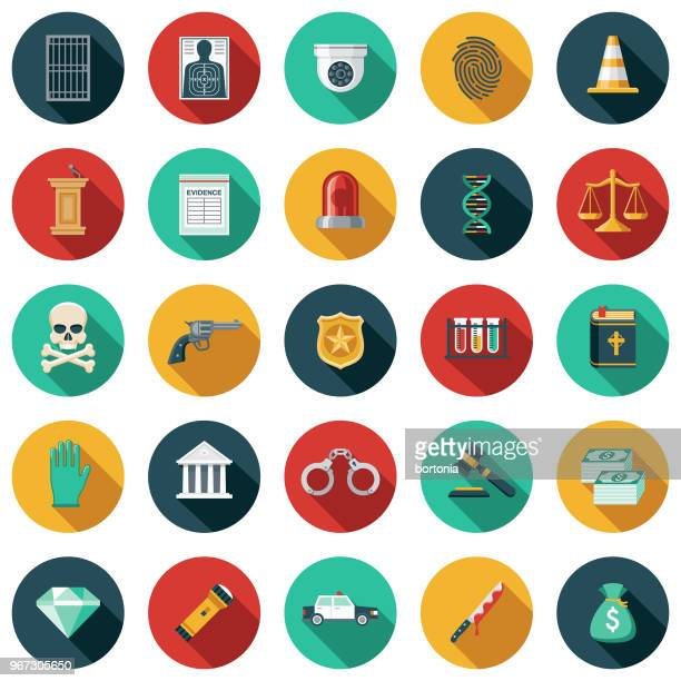 crime & punishment flat design icon set - security camera stock illustrations
