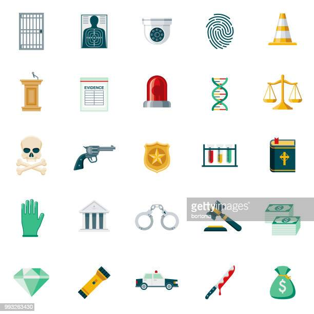 La criminalité & punition Design plat Icon Set