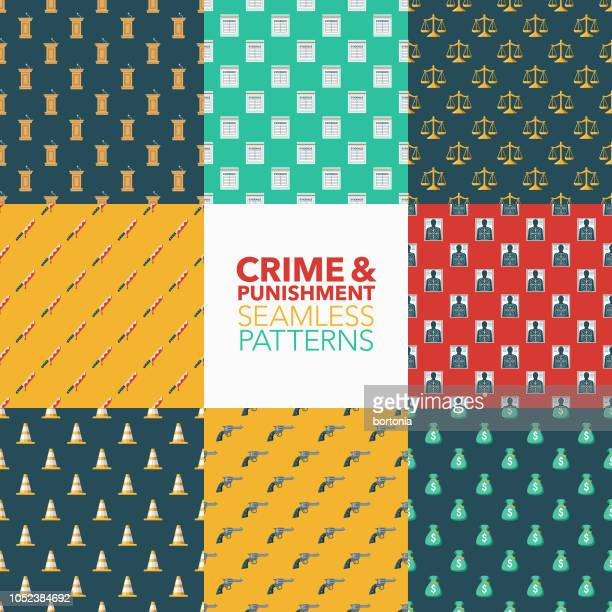 crime & punishment seamless pattern set - criação digital stock illustrations