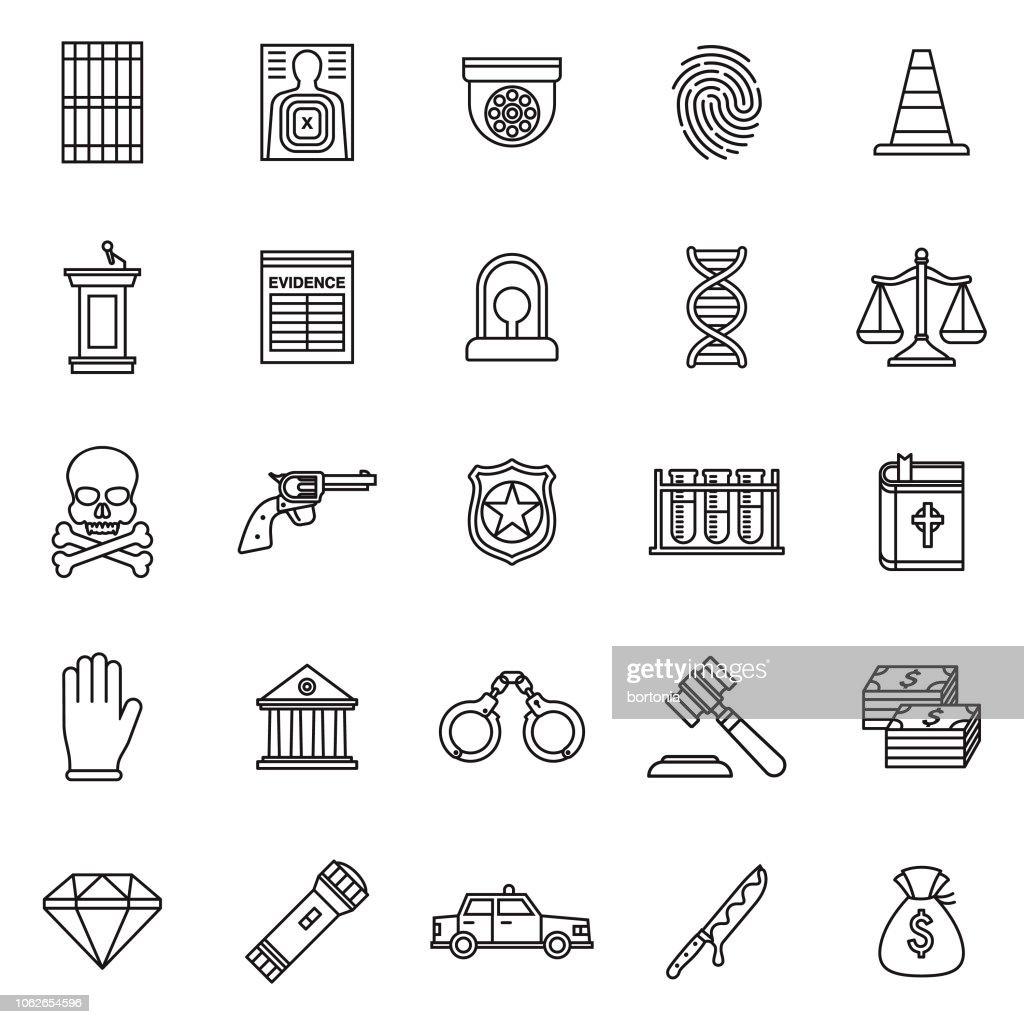 Crime & Punishment Thin Line Outline Icon Set
