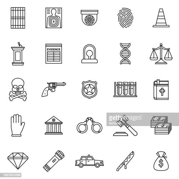 crime & punishment thin line outline icon set - crime or recreational drug or prison or legal trial stock illustrations