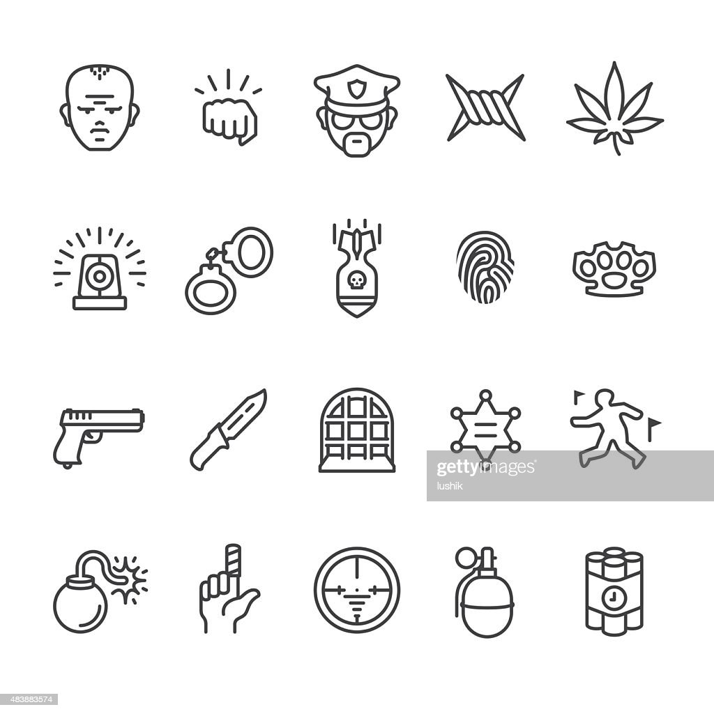 Crime related vector icons
