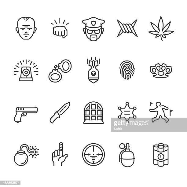 bildbanksillustrationer, clip art samt tecknat material och ikoner med crime related vector icons - crime or recreational drug or prison or legal trial