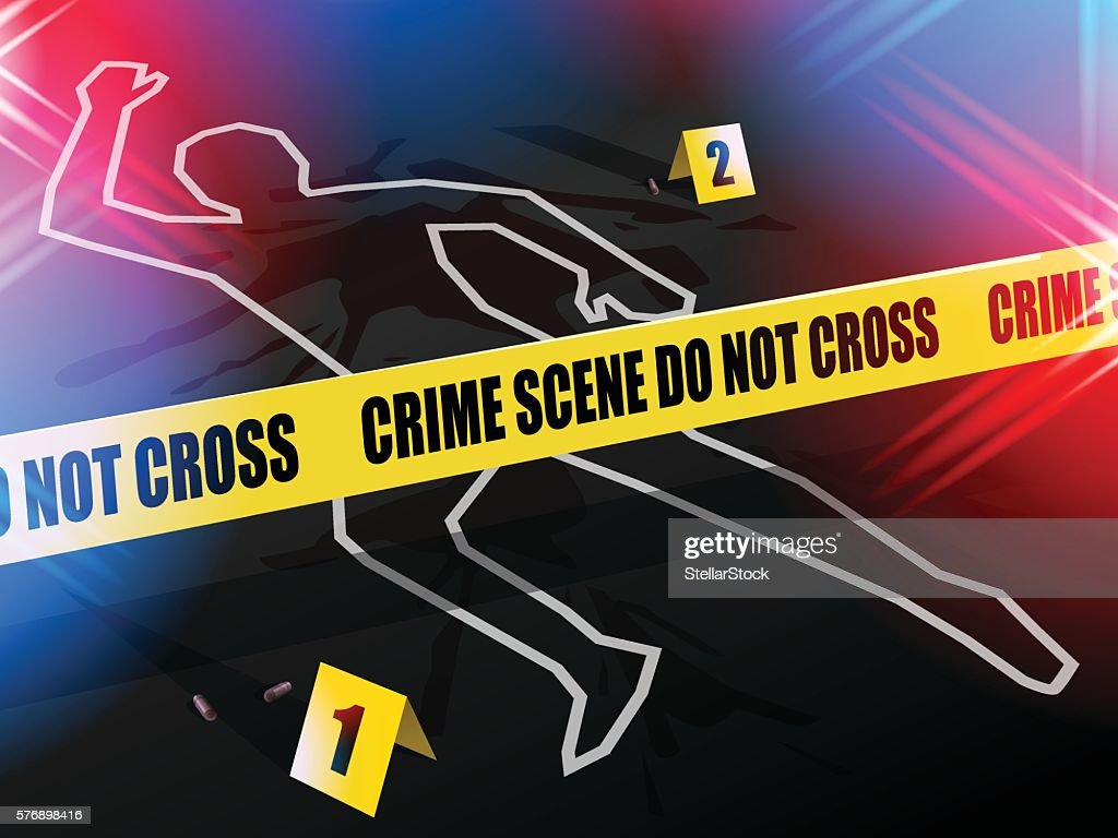 Crime scene Do not cross, with Chalk outline of victim.