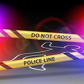 Crime scene. Do not cross. Yellow warning tape.