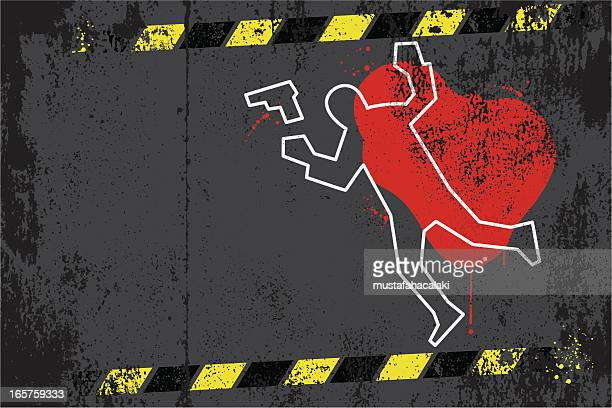 stockillustraties, clipart, cartoons en iconen met crime scene graffiti - dead body
