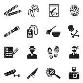 Crime Scene Icons. Black Flat Design. Vector Illustration.