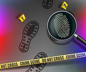Crime scene. Magnifying glass with fingerprint