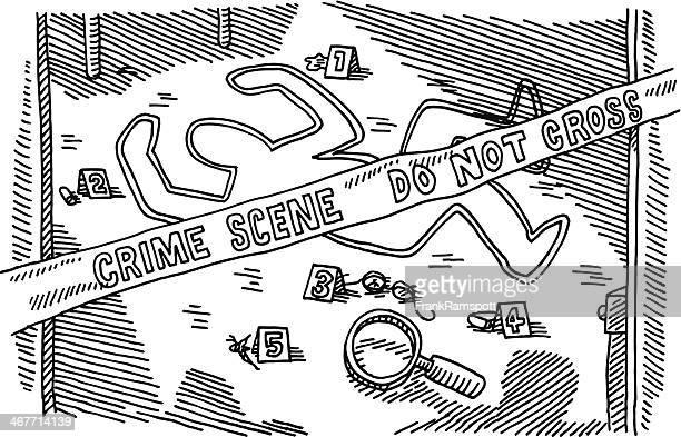 crime scene murder drawing - crime scene stock illustrations, clip art, cartoons, & icons