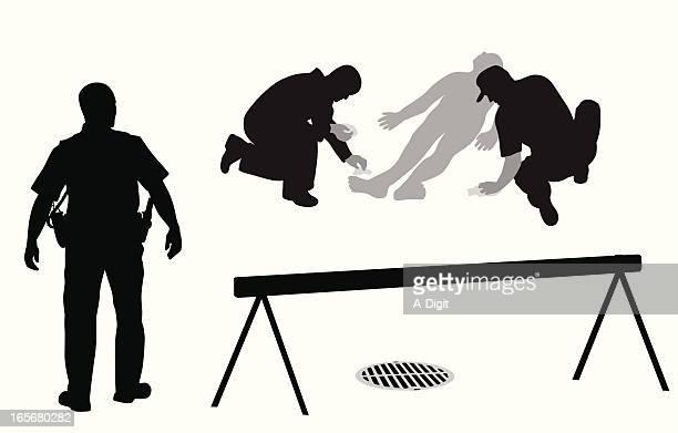 crime scene vector silhouette - crime scene stock illustrations, clip art, cartoons, & icons