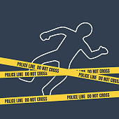 Crime scene with body outline. Police line do not cross tape