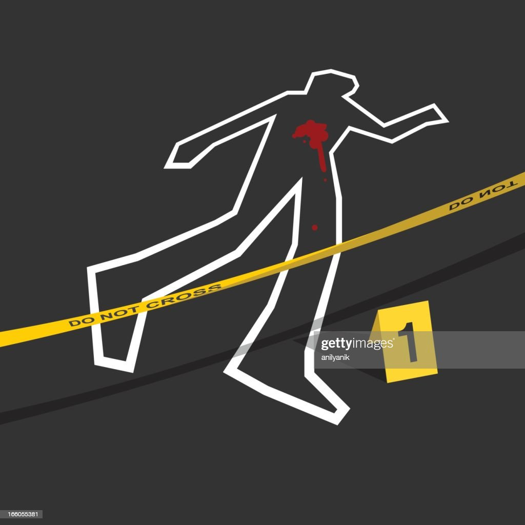 Crime scene with do not cross tape and number 1 mark