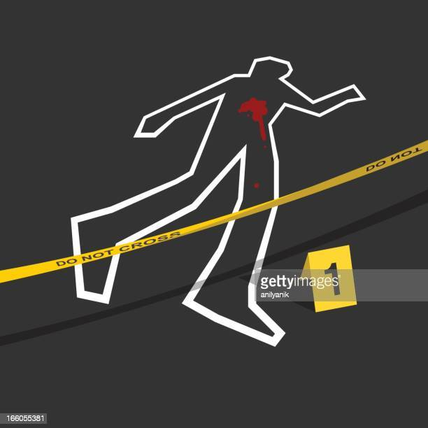 crime scene with do not cross tape and number 1 mark - crime scene stock illustrations, clip art, cartoons, & icons