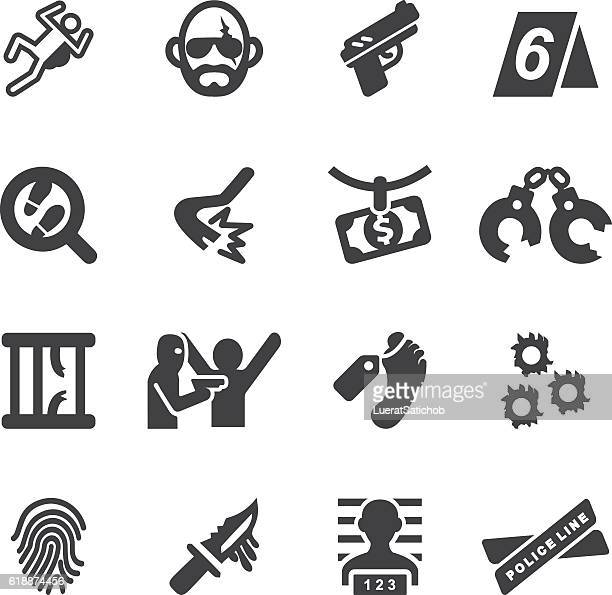 crime silhouette icons | eps10 - murder stock illustrations, clip art, cartoons, & icons