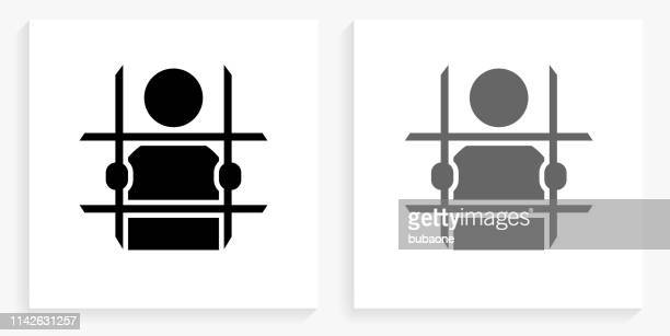Criminal Behind Bars Black and White Square Icon