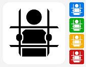 Criminal Behind Bars Icon Flat Graphic Design