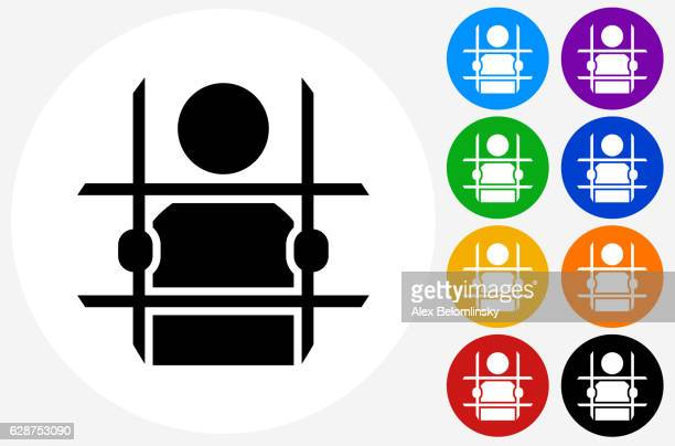 Criminal Behind Bars Icon on Flat Color Circle Buttons