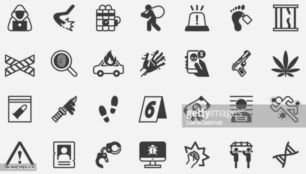 kriminelle konzept-icons - terrorismus stock-grafiken, -clipart, -cartoons und -symbole