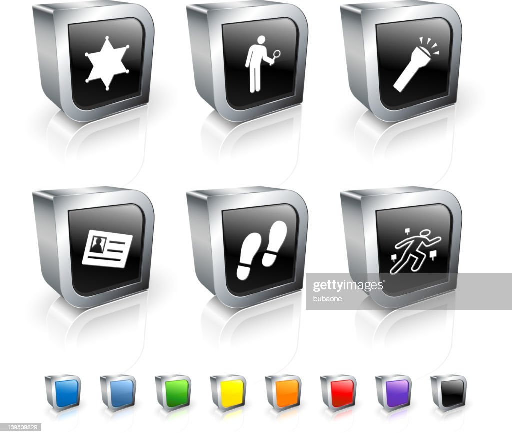 criminal investigation royalty free vector icon set