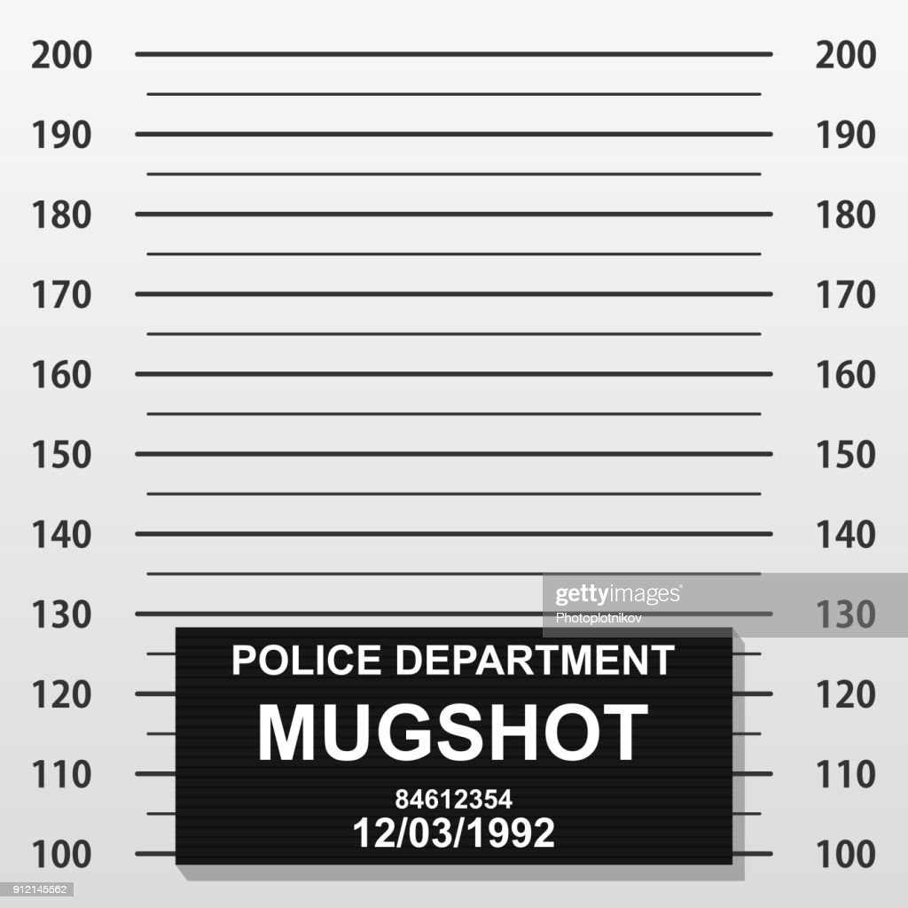 Criminal mug shot line. Police mugshot add a photo. Blank criminal police lineup with centimeter scale for photograph