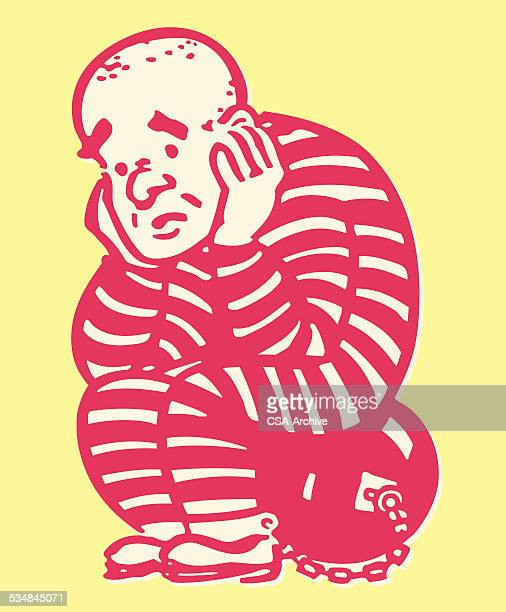 criminal sitting on ball and chain - regret stock illustrations