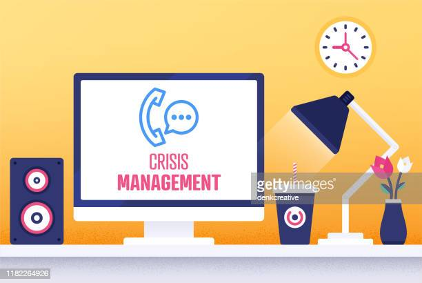 crisis management modern flat design concept - head above water stock illustrations