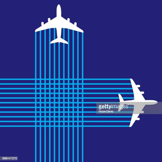 criss crossing airplanes - vapor trail stock illustrations, clip art, cartoons, & icons