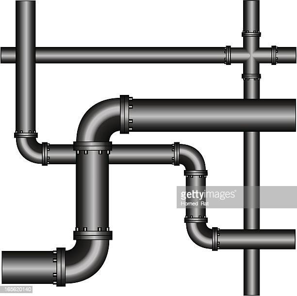 A crisscross network of grey metal pipes