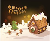 Cristmas Background with gingerbread houses