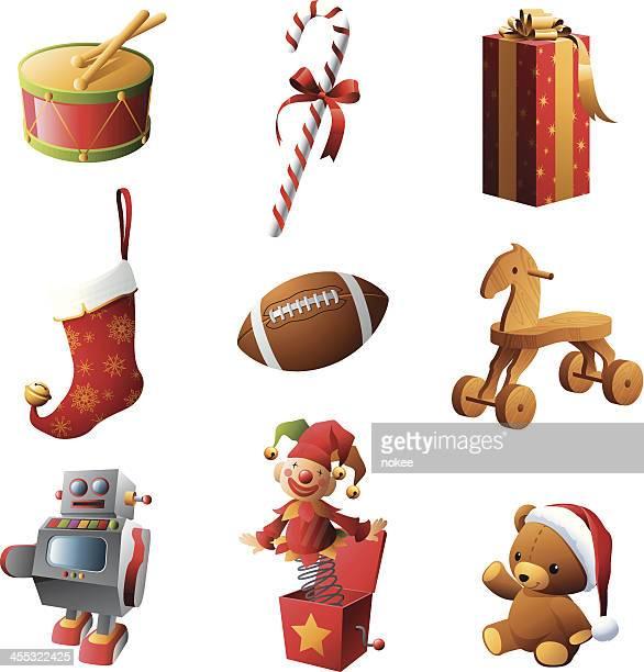 illustrations, cliparts, dessins animés et icônes de cadeaux de noël, jouets - jouet