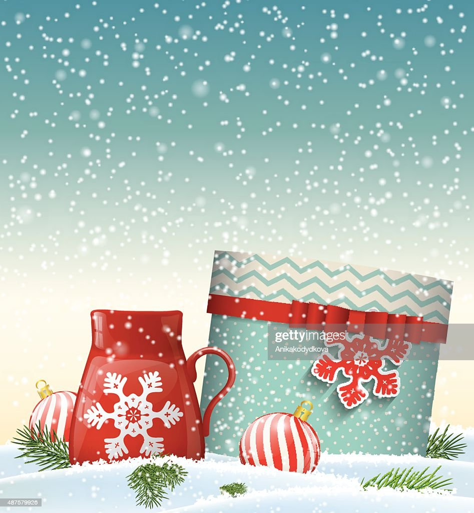 Cristmas greeting card with giftbox and red teacup, winter theme