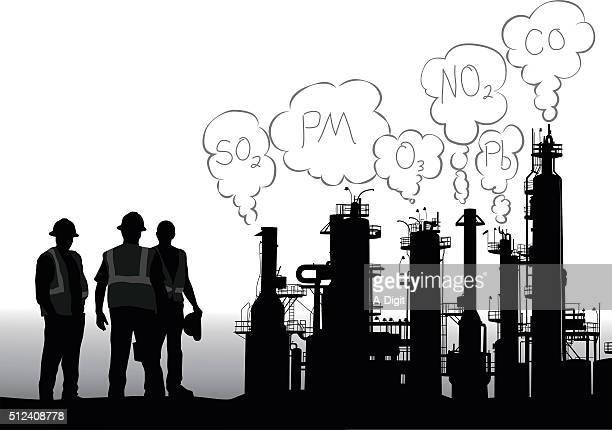 ilustraciones, imágenes clip art, dibujos animados e iconos de stock de criterios de contaminantes infografía - torre petrolera