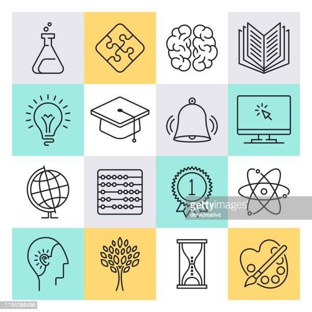 stockillustraties, clipart, cartoons en iconen met kritisch denken & onderwijs schets stijl vector icon set - menselijk hoofd