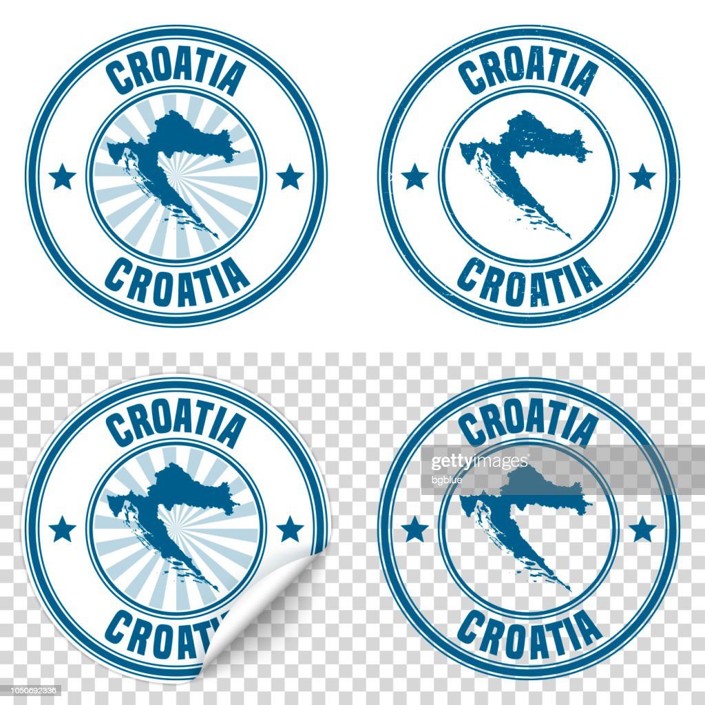 Croatia - Blue sticker and stamp with name and map : stock illustration