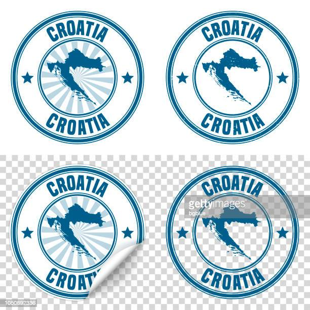 Croatia - Blue sticker and stamp with name and map