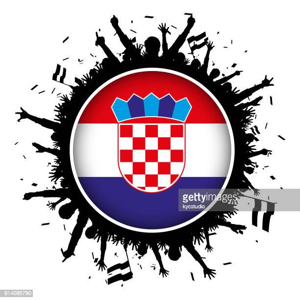 croatia button flag with soccer fans 2018 - croatian flag stock illustrations, clip art, cartoons, & icons