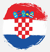 Croatia Circle Flag Vector Hand Painted with Rounded Brush