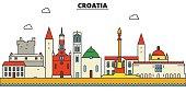 Croatia, Croatia. City skyline: architecture, buildings, streets, silhouette, landscape, panorama, landmarks. Editable strokes. Flat design line vector illustration concept. Isolated icons set