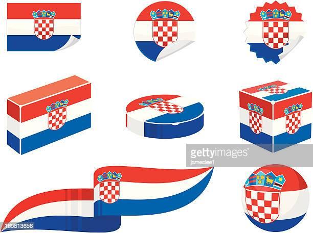 croatia design elements - croatian flag stock illustrations, clip art, cartoons, & icons