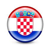 Croatia Flag Round Button. Vector Illustration