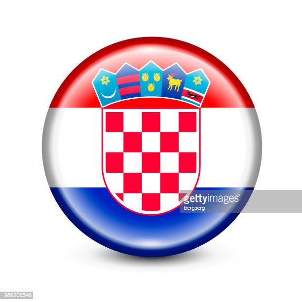 croatia flag round button. vector illustration - croatian flag stock illustrations, clip art, cartoons, & icons