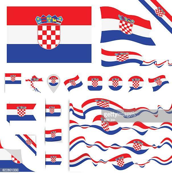 croatia flag set - croatian flag stock illustrations, clip art, cartoons, & icons