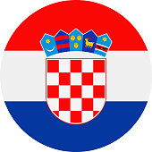 Croatia Flag Vector Round Flat Icon