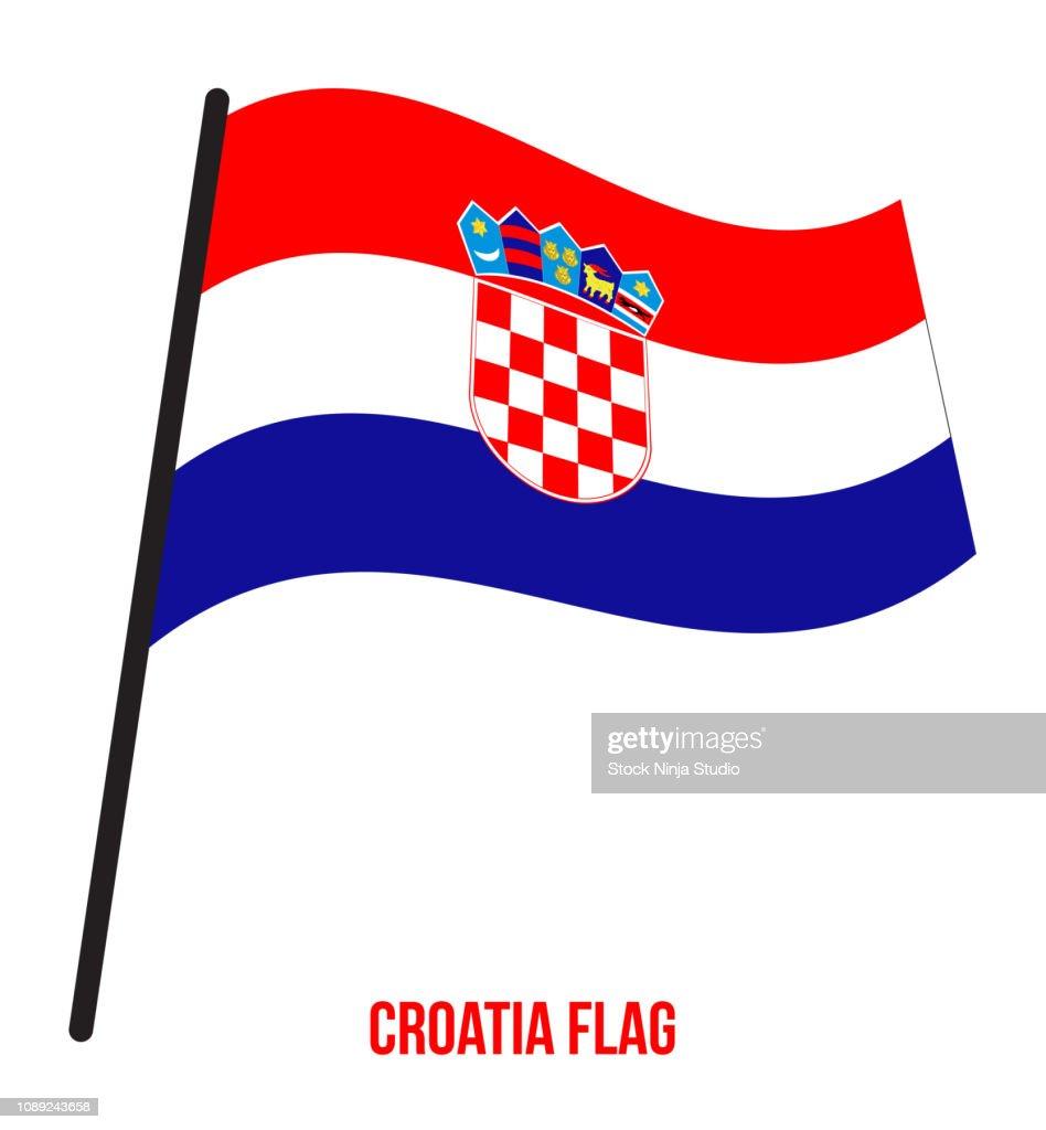 Croatia Flag Waving Vector Illustration on White Background. Croatia National Flag