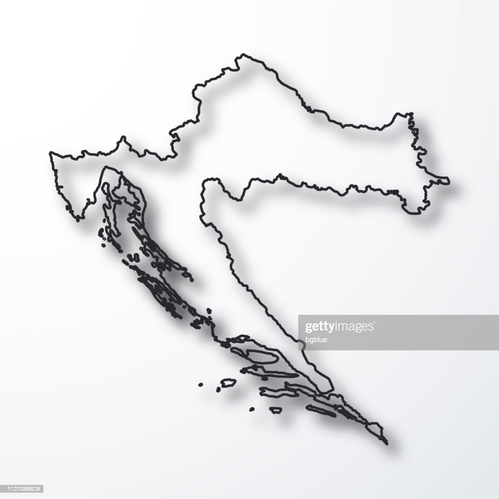 Croatia Map Black Outline With Shadow On White Background Vector Art ...