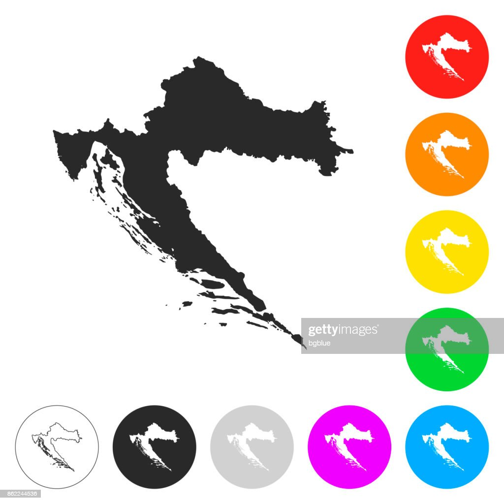 Croatia map - Flat icons on different color buttons : stock illustration